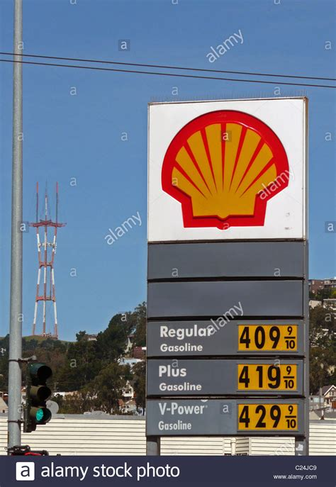 Shell gas station sign showing gasoline prices over $4 per gallon Stock Photo, Royalty Free