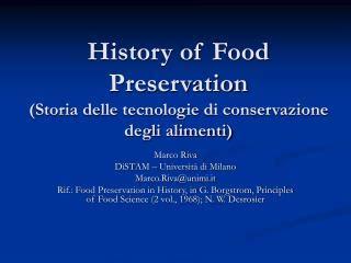 storia della conservazione degli alimenti ppt contaminazione chimica fisica e biologica degli