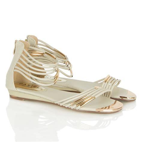 white and gold sandals daniel kopara womens gladiator white gold sandal