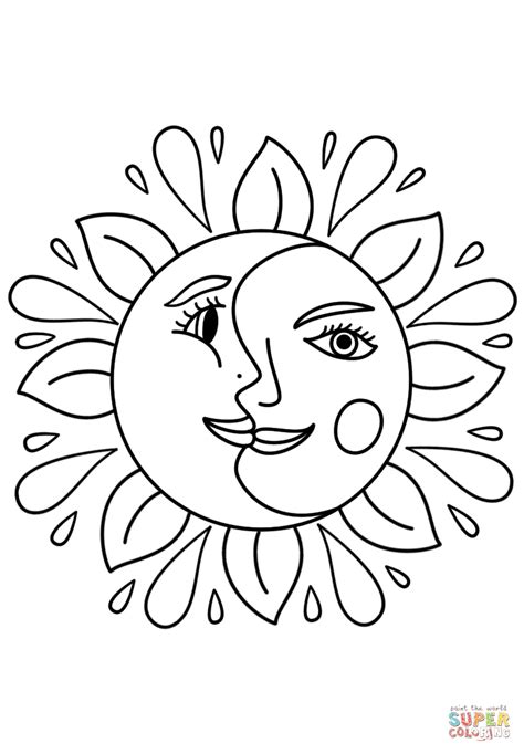 trippy coloring pages trippy sun and moon coloring page free printable