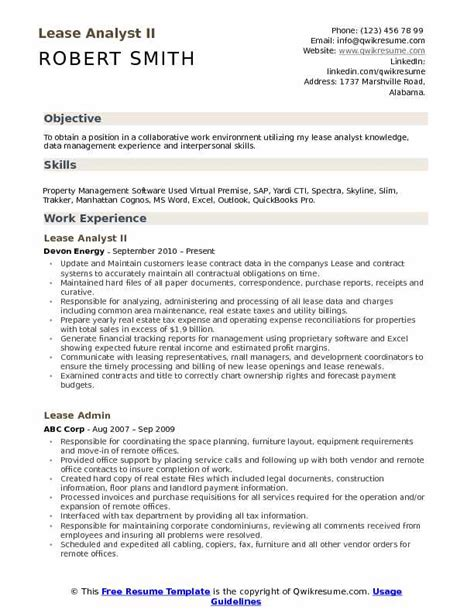 Contract Analyst by Lease Analyst Resume Sles Qwikresume
