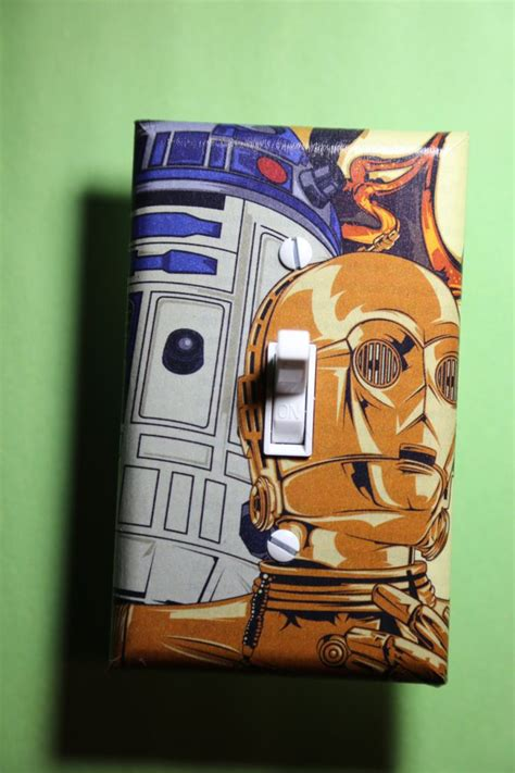sci fi home decor star wars c3po r2d2 light switch plate cover bedroom room