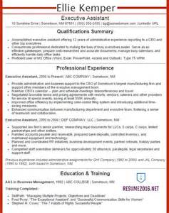 executive assistant resume exles 2016 get your