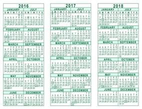 Calendar Thru 2018 2016 2017 2018 3 Year Calendar