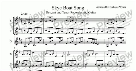 skye boat song on recorder skye boat song for two recorders and guitar sheet music