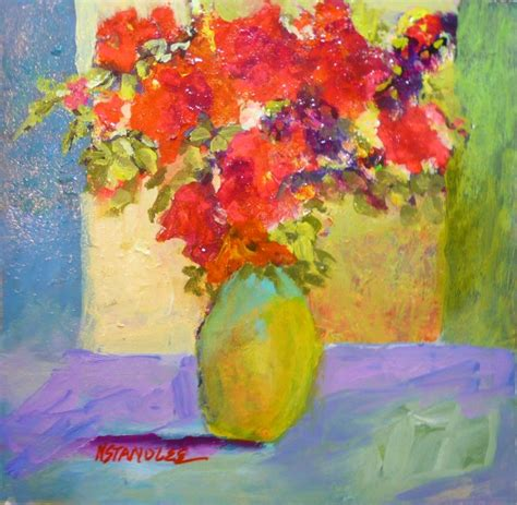 acrylic painting newspaper nancy standlee quot floral quot small acrylic