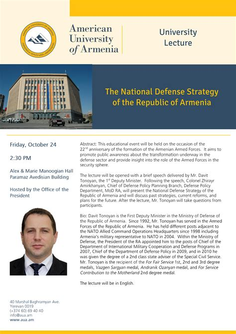 Mba American Of Armenia by Upcoming Events Lecture The National Defense