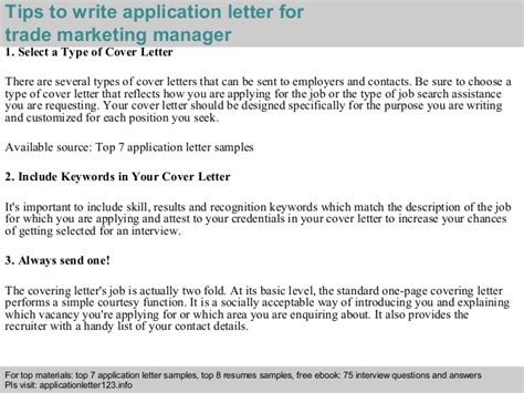 application letter marketing manager trade marketing manager application letter