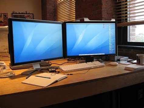 two screen computer desk dual monitor set up articles actual tools