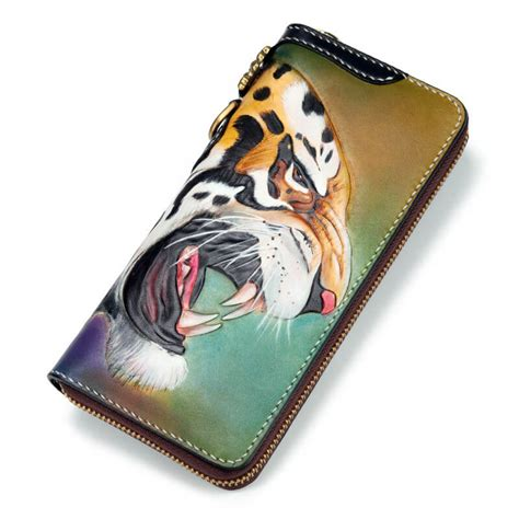 Handmade Leather Biker Wallets - handmade leather biker wallet with tiger makkashop