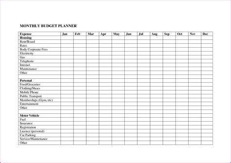 budget tracker template budget spreadsheet template designproposalexle