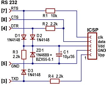 serial port pic programmer circuit diagram pic 16fxxx programmer for the serial port