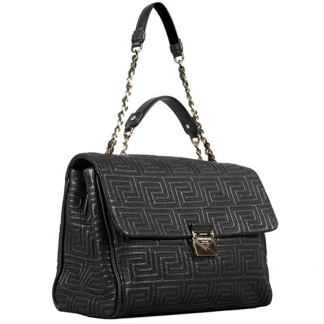 Couture Leather Shoulder Bag by Gianni Versace Couture Large Black Quilted Leather
