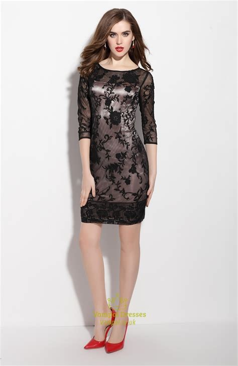 Sleeve Lace Cocktail Dress black lace overlay sheath cocktail dress with 3 4 sleeves