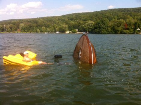 higgins lake sunken boat sinking greavette 2 port carling boats antique