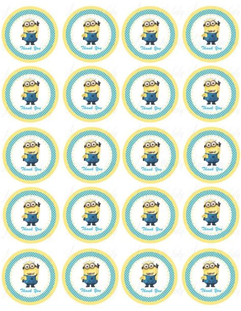 printable stickers minions despicable me minion stickers cupcake toppers by