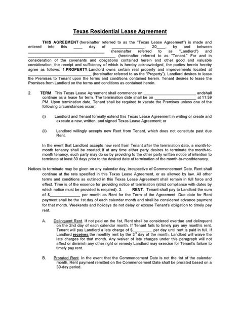 Free Texas Residential Lease Agreement | PDF | Word | Do