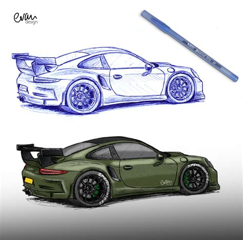 Wpromo Aston 1107 7 2in1 2 in 1 gt3 rs 911 porsche bic sketch drawing and colouring