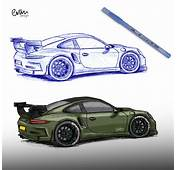 2 In 1 GT3 RS 911 Porsche BIC Sketch Drawing And Colouring