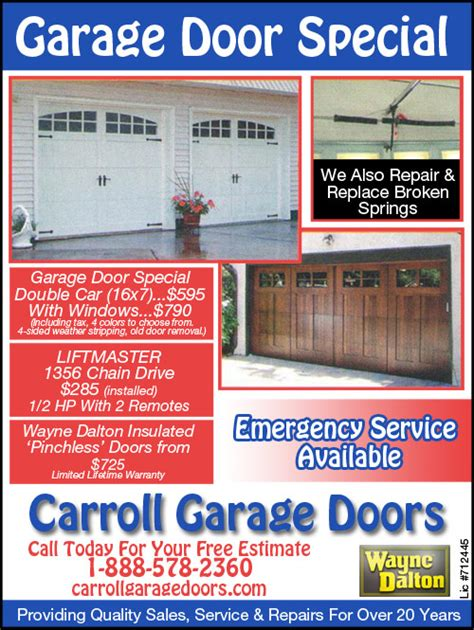 Garage Door Marketing Garage Door Repair Coupons Specials Carroll Garage Doors