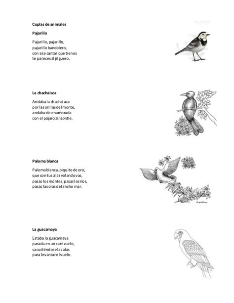 coplas de animales para nios coplas de animales