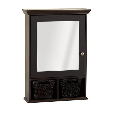 espresso bathroom medicine cabinet zenith products concave frame bevel mirrored 21 quot x 25