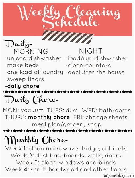 free cleaning list just in time for spring includes interior and