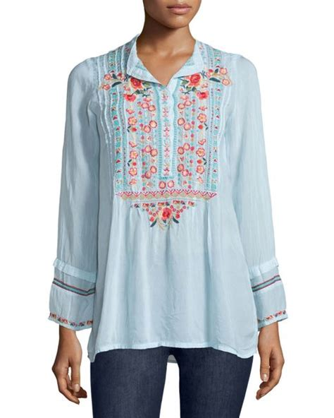 Catra Tunic johnny was catra embroidered tunic in blue cobalt lyst