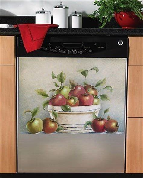 Red Apple Magnetic Dishwasher Cover Magnet Kitchen Decor Apple Decorations For The Kitchen