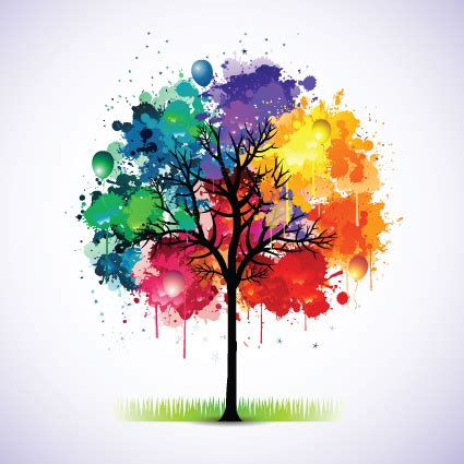 colorful tree colorful tree vector illustration free vector