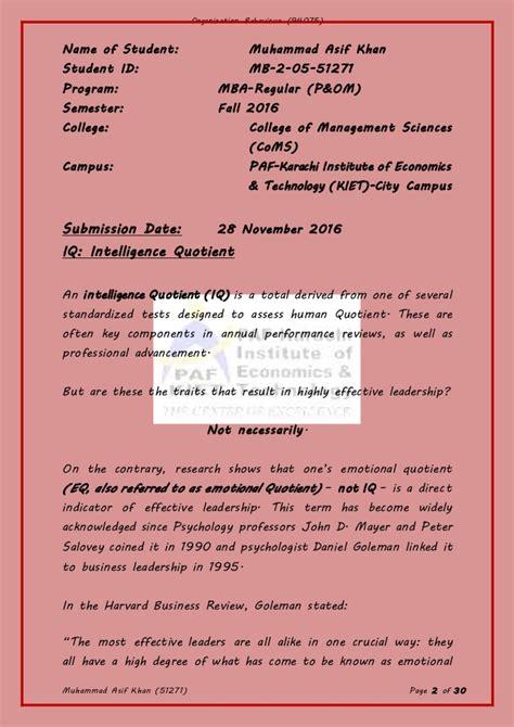 Organizational Behavior Syllabus Mba by Term Project Organization Behavior 94075 Fall 2016