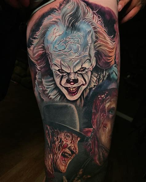 clowns tattoos pennywise clown by derek turcotte