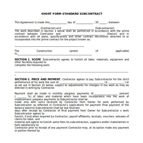 subcontracting contract template 15 sle subcontractor agreements sle templates