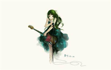 Mio Green Dress akiyama mio dress green green hair guitar instrument