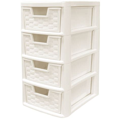 Four Drawer Storage Unit Rattan Style Plastic Small 4 Drawer Tower Storage Unit For