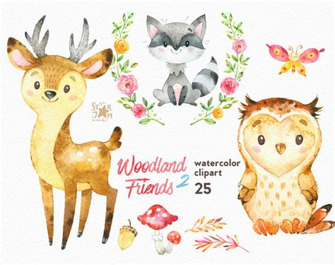 Welcome Home Baby Decorations by Woodland Friends 2 Watercolor Animals Clipart Forest Deer