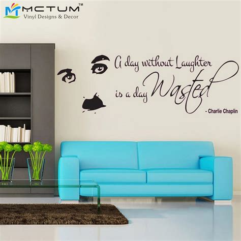 wall decal quotes for living room charlie chaplin laughter quote wall decal sticker art