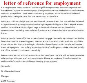 Sample letter of reference for employment