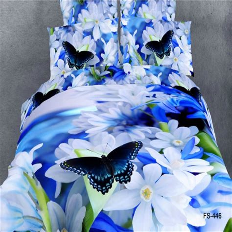 3d Butterfly Flowers Soft 3d watercolor blue and white flower butterfly bedding sets size soft cotton fabric floral