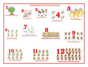 Printable twelve days of christmas lyrics search results calendar