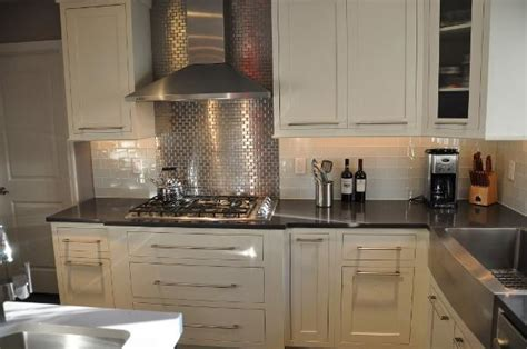 Stove Splash Guard by Stainless Steel Subway Tiles Contemporary Kitchen