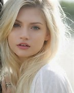 Pretty Girl with Blue Eyes and Blonde Hair