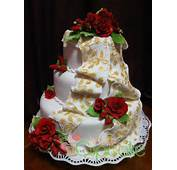 Red Roses Wedding Fondant Cake With Gold Drapery Little Miss Cupcake