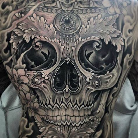 skull back tattoos sugar skull on back by antony flemming