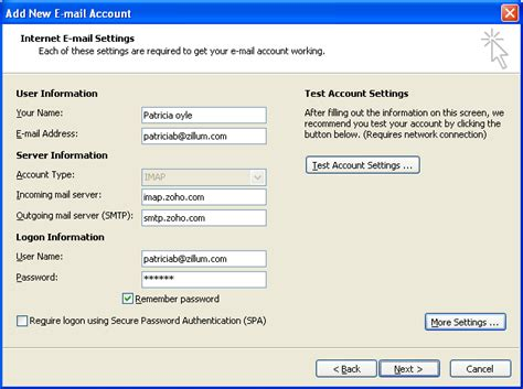 email zoho steps to configure zoho mail account as imap in outlook
