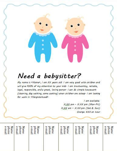 babysitting flyer template babysitting flyers flyers and flyer template on pinterest