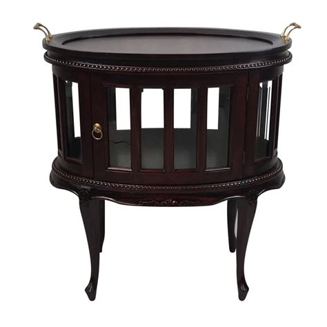 solid mahogany wood tea table oval shape with glass
