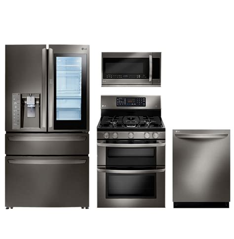 Black Kitchen Cabinets With White Appliances by Lg Black Stainless Steel Series Black Stainless Steel