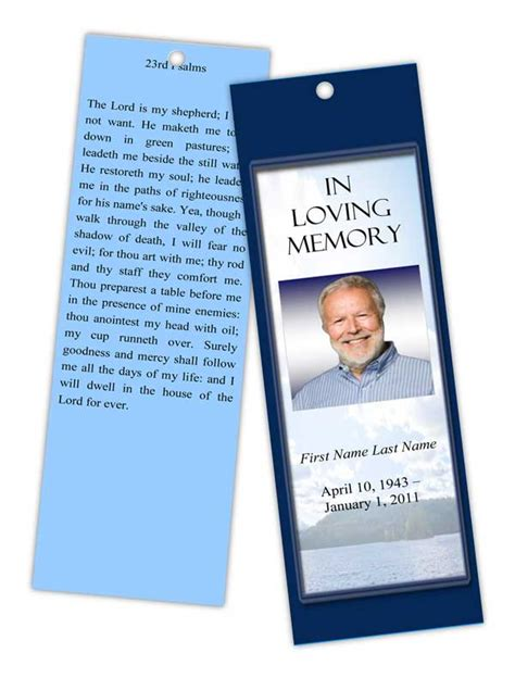 funeral program templates memorial bookmark mountain