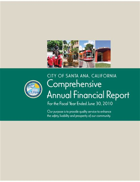 Gfoa Transmittal Letter 2010 Comprehensive Annual Financial Report Cafr City Of Santa